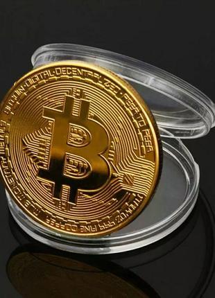 Сувенирная монета Биткоин коллекционный золотого цвета подарок...