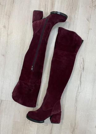 Ботфорты высокие сапоги кожа замш удобный каблук
