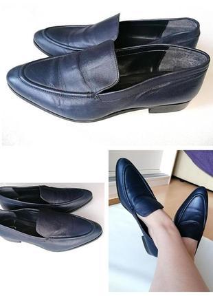 Кожаные туфли лоферы синие фирменные jasper conran 100% натура...