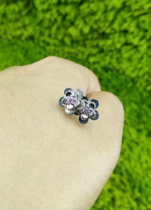Серебряные серьги гвоздики пусеты цветок с фианитом 925