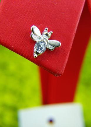 Серебряные серьги гвоздики пусеты с камнями фианитом 925пчела
