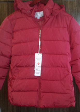 Куртка красная с меховыми карманами