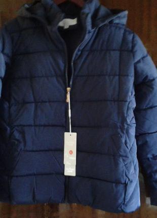 Куртка синяя с меховыми карманами