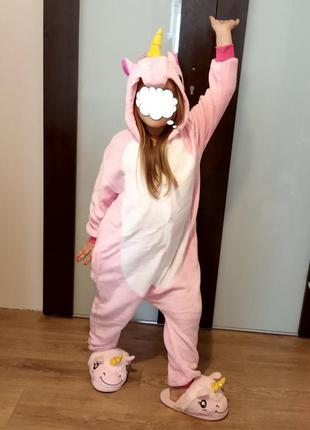 Пижама детская единорог розовый кигуруми