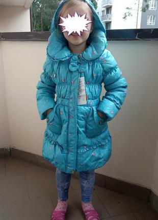 Пуховик для девочки куртка зимняя на натуральном пуху голубой