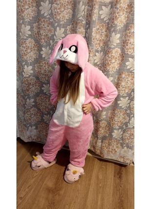 Пижама кигуруми для детей  заяц розовый