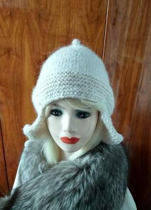 Шапка вязаная женская мужская унисекс шапка-ушанка с флисом те...