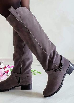 Натуральные замшевые сапоги ботфорты серые
