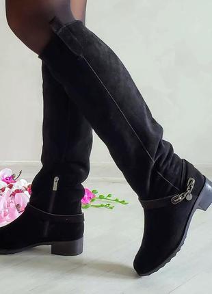 Натуральные замшевые сапоги ботфорты черные