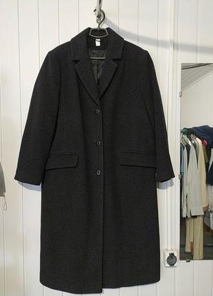 Женское шерстяное пальто оверсайз большого размера