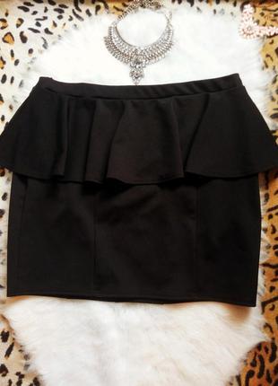 Черная юбка с баской батал большой размер плюс сайз короткая м...
