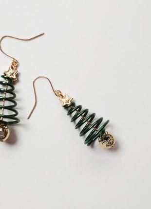 Серьги подвеска ель елка ялинка елочка новогодняя новый год се...