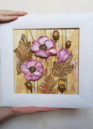 """Цветочное панно """"розовые маки"""" оригинальная картина"""