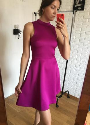 Бордово розово вишневое платье с юбкой солнце
