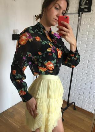Блуза длинный рукав в цветы