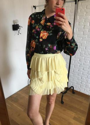 Желтая юбка фатин плиссе