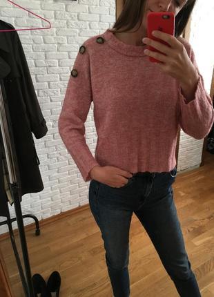 Твидовая кофта свитер с трендовыми пуговицами пудрового розово...
