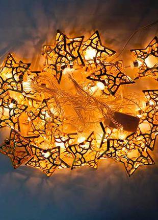 Электрогирлянда звезды металлич.