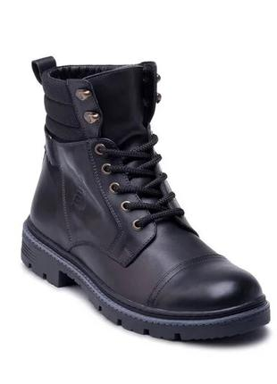 Мужские кожаные зимние ботинки Bastion black Черные