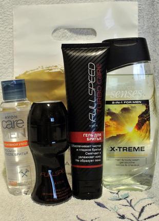 Набор д/мужчин: гель д/бритья, дезодарант, шампунь-гель, лосьон