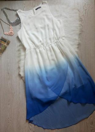 Асимметричное цветное белое синее голубое платье с градиентом ...