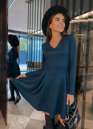 Замшевое платье юбка клеш