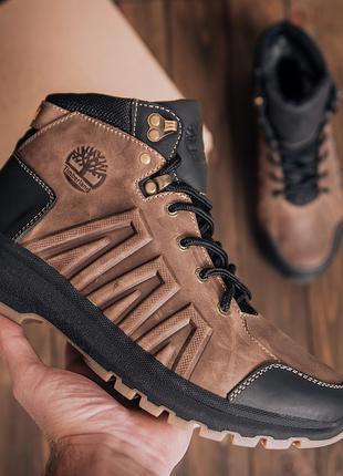 Мужские зимние кроссовки кожаные Timberland Brown