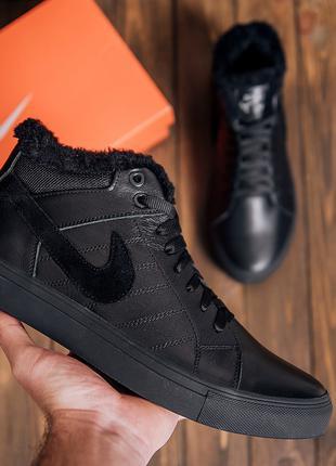 Мужские кроссовки зимние кожаныеNike Black Leather