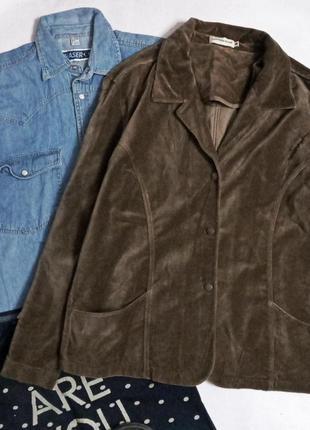 Шикарный бархатный пиджак большой размер