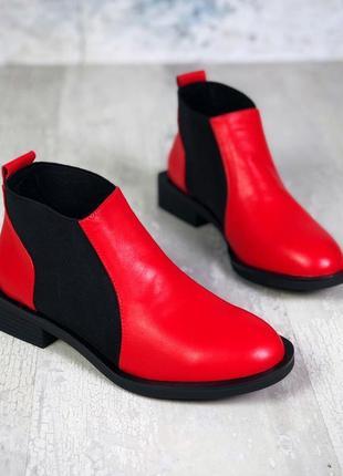 Натуральная кожа кожаные осенние ботинки челси на квадратном к...