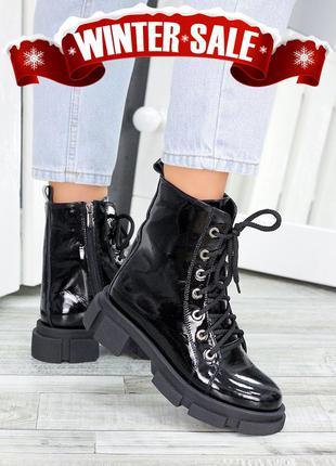 Ботинки берцы женские лак-кожа