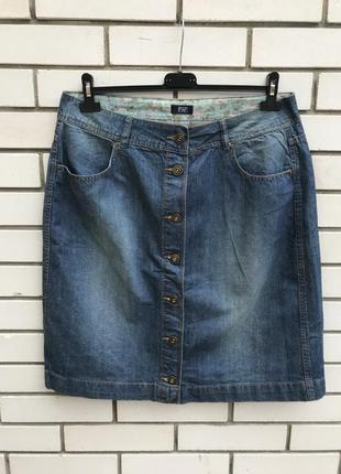 Джинсовая юбка на застёжке, большого размера, хлопок, f&f
