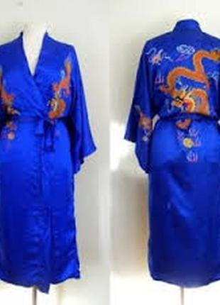 Роскошный шелковый халат кимоно, натуральный шёлк, шелк, шовк,...