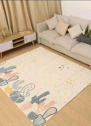 Двухсоронний складной детский термо коврик для ползанья