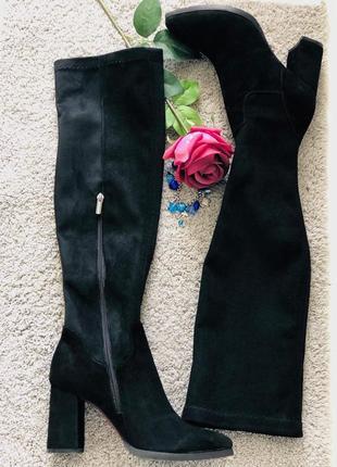 Женские замшевые сапоги-чулки, черные
