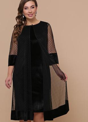 Черное велюровое платье больших размеров