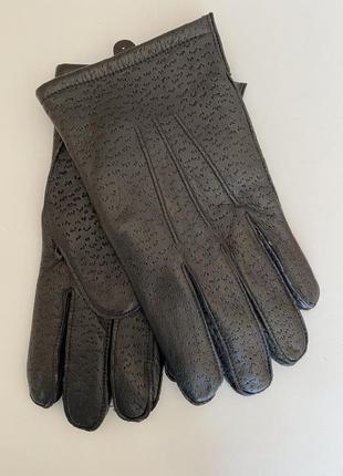 Кожаные мужские перчатки на флисовой подкладке