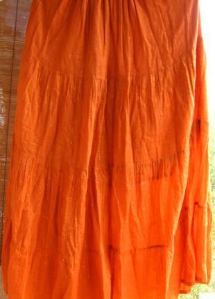 Оранжевая юбка с длинная летняя хлопковая индийская с подкладкой