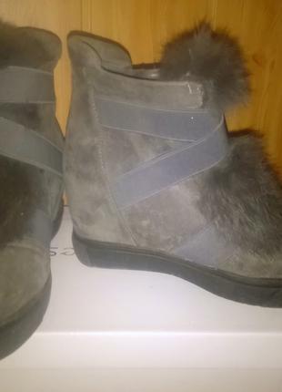 Ботинки с мехом, модель 2020 г,Польша,замша+ мех