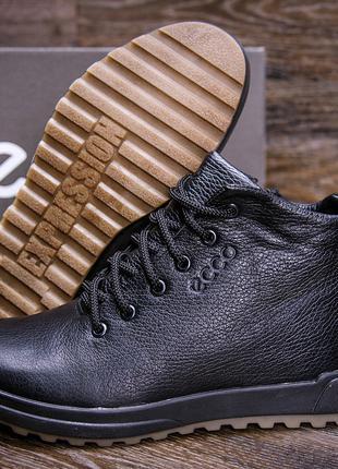 Мужские  зимние кожаные ботинки Eкко Черные