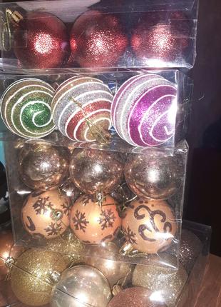 новогодние игрушки шарики шары новогодние 6см