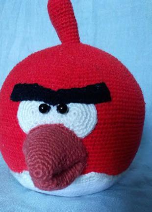 Вязаная игрушка Птица Теренс самая большая из angry birds