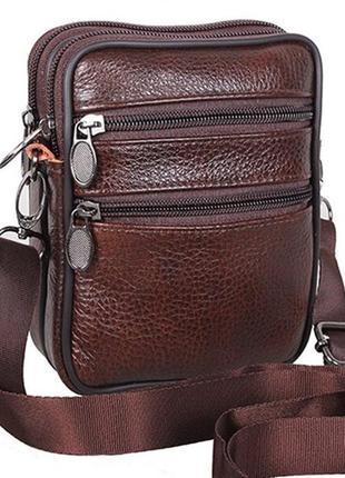 Мужская кожаная сумка через плечо поясная барсетка коричневая ...