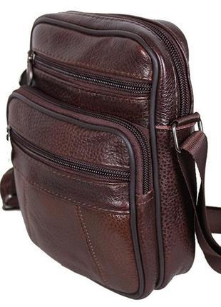 Кожаная мужская сумка bon r010-1 коричневая барсетка через пле...