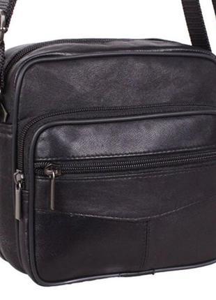 Кожаная мужская сумка sw11018 черная барсетка через плечо кожа...