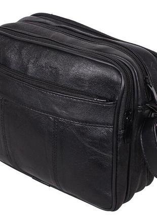 Кожаная мужская сумка sw2026 черная барсетка через плечо кожа ...
