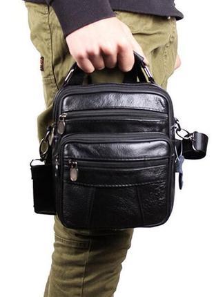 Кожаная мужская сумка bon101-2 черная барсетка через плечо кож...