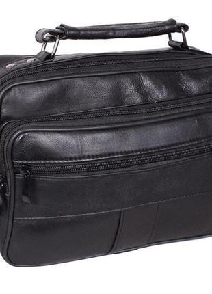 Кожаная мужская сумка sw2022 черная барсетка через плечо кожа ...