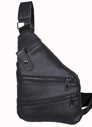 Кожаная сумка мужская через плечо рюкзак косуха черный кд1901 ...