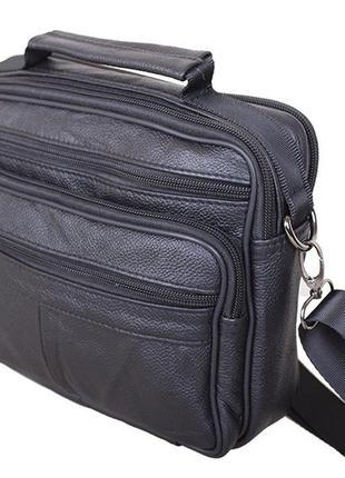 Кожаная мужская сумка через плечо black205 черная барсетка 23х...